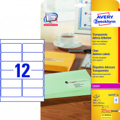 AVERY Zweckform Folien-Adressetiketten L4772-25 transparent